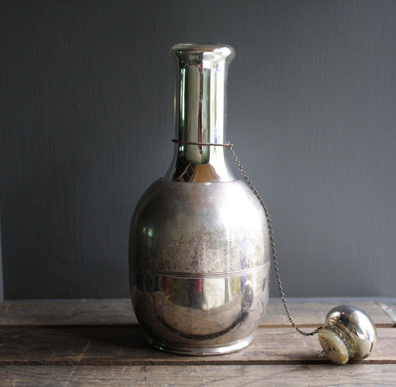 #antique mercury glass decanter carafe