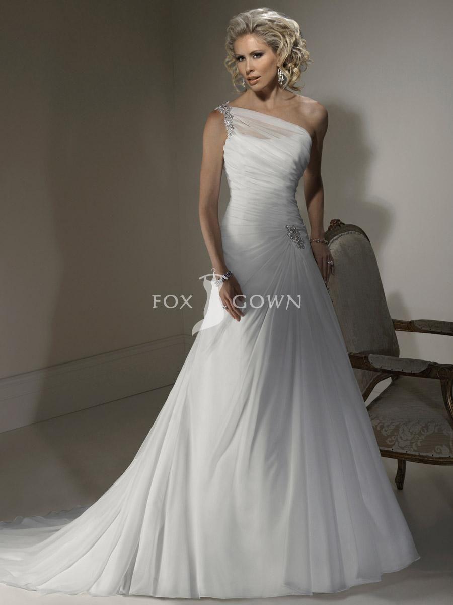 Cute modest white a line wedding dress beaded chiffon one shoulder neckline