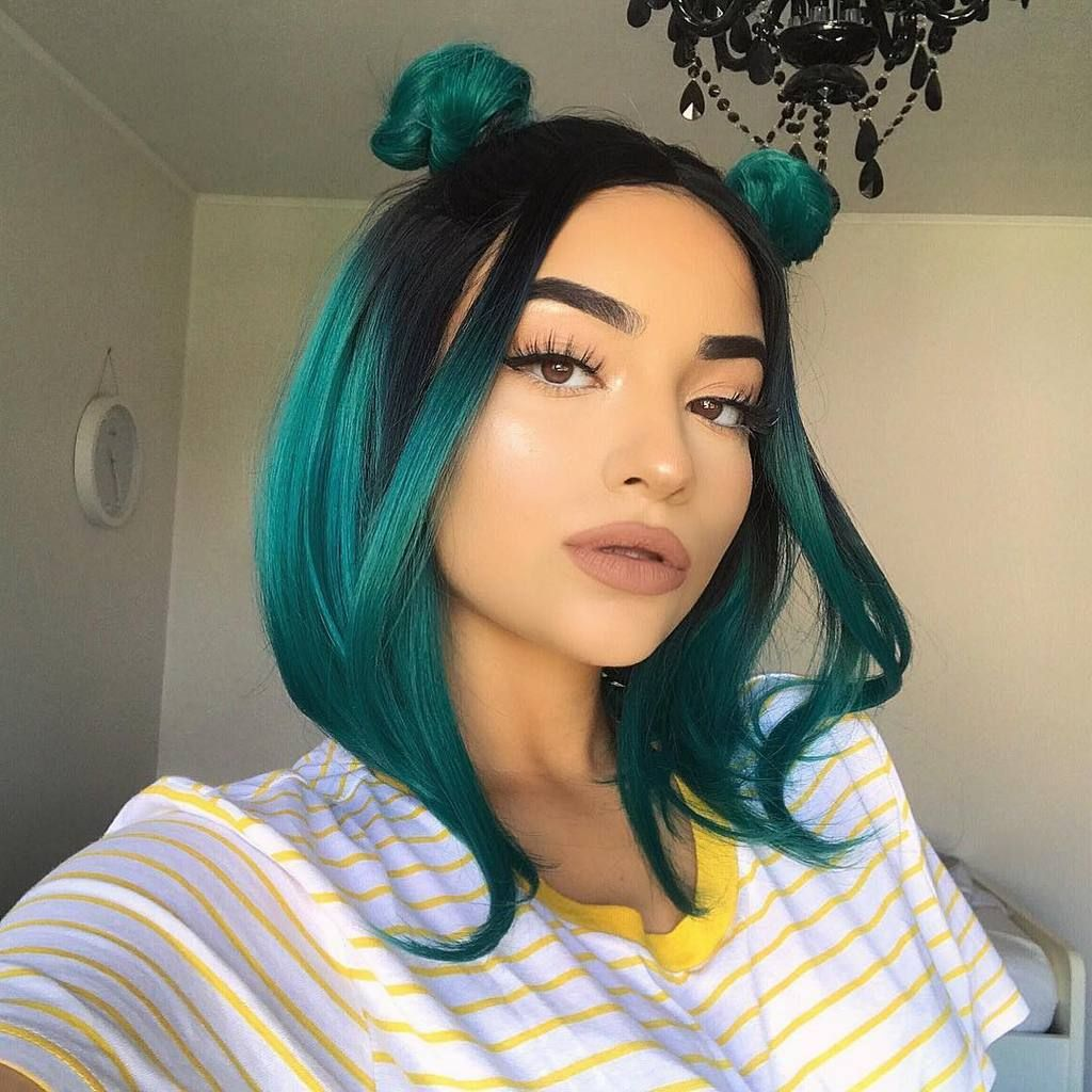 Short black to green ombre bob synthetic lace front wig short black
