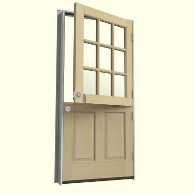 9 Lite Unfinished Dutch Wood Prehung Left Hand Inswing Front Door  W/Brickmould