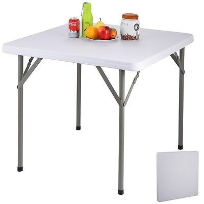 folding square camping banquet table indoor outdoor portable white rh pinterest com