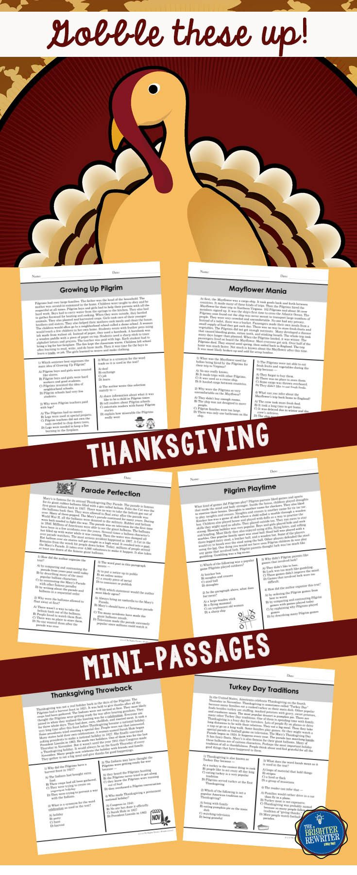 Build Reading Comprehension Using These 6 Nonfiction Mini Passages Each Thanksgiving Reading Passages Thanksgiving Readings Thanksgiving Reading Comprehension [ 1800 x 735 Pixel ]