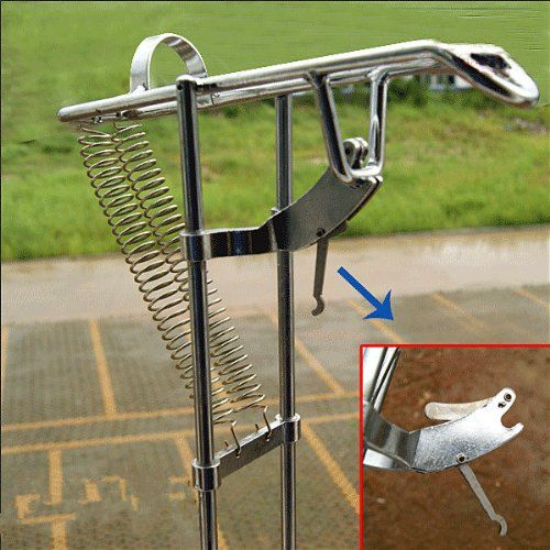 Fishing rod holder with automatic tip up hook setter at for Automatic fishing pole