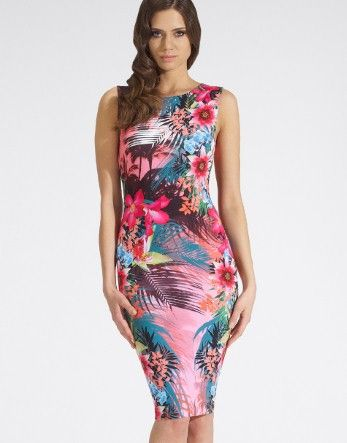 Tropical Bodycon Midi Dress