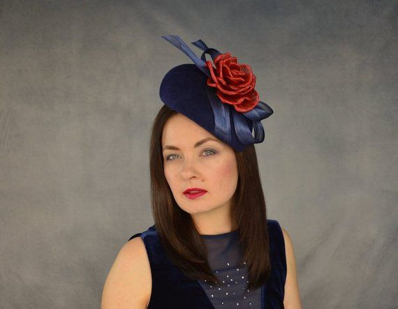 Navy Blue Pillbox Hat with Red Silk Abaca Rose - Navy Blue and Red  Fascinator - Navy Pillbox Hat - 9756e956dcf