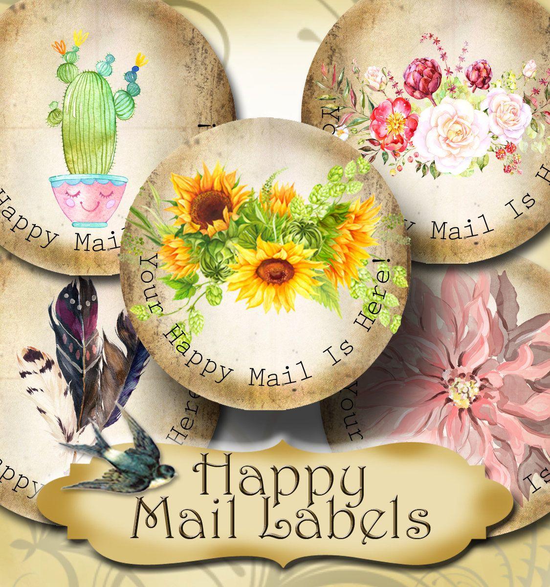Happy mail •60 custom 1 5 x 1 5 round stickers•round labels•tags•package labels•custom stickers•custom labels•packaging• by julrypartz