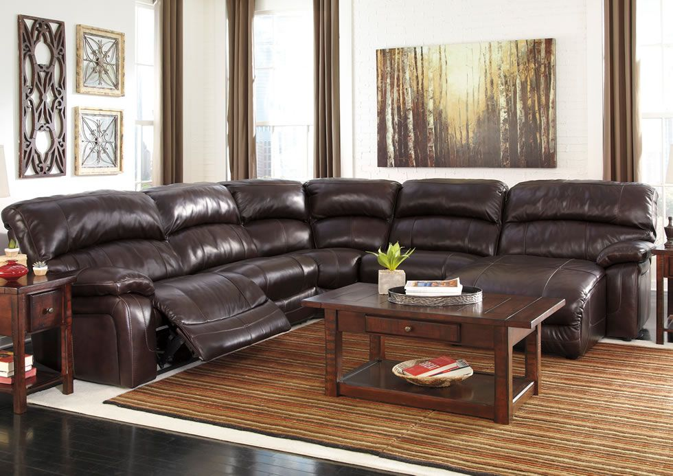 Ashley Furniture Leather Sectional | Damacio Dark Brown Leather Match  Powered Reclining Sectional