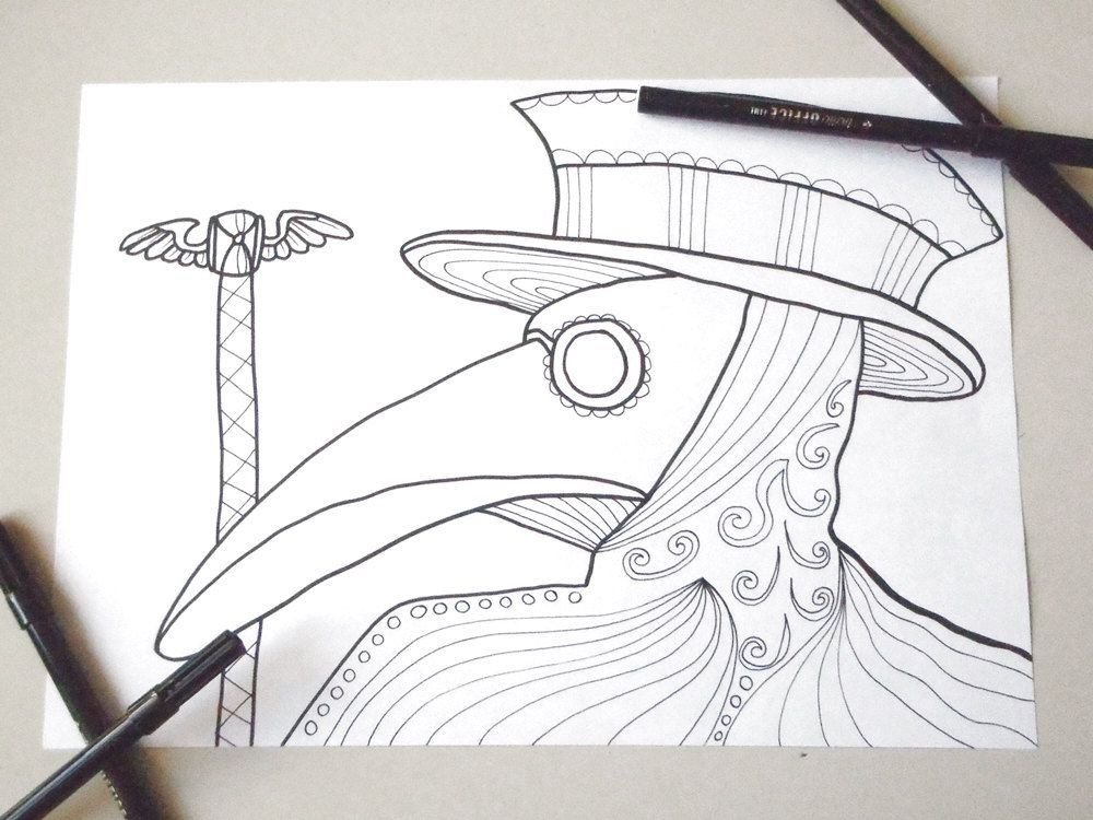 Plague doctor mask coloring page adults horror goth download ...