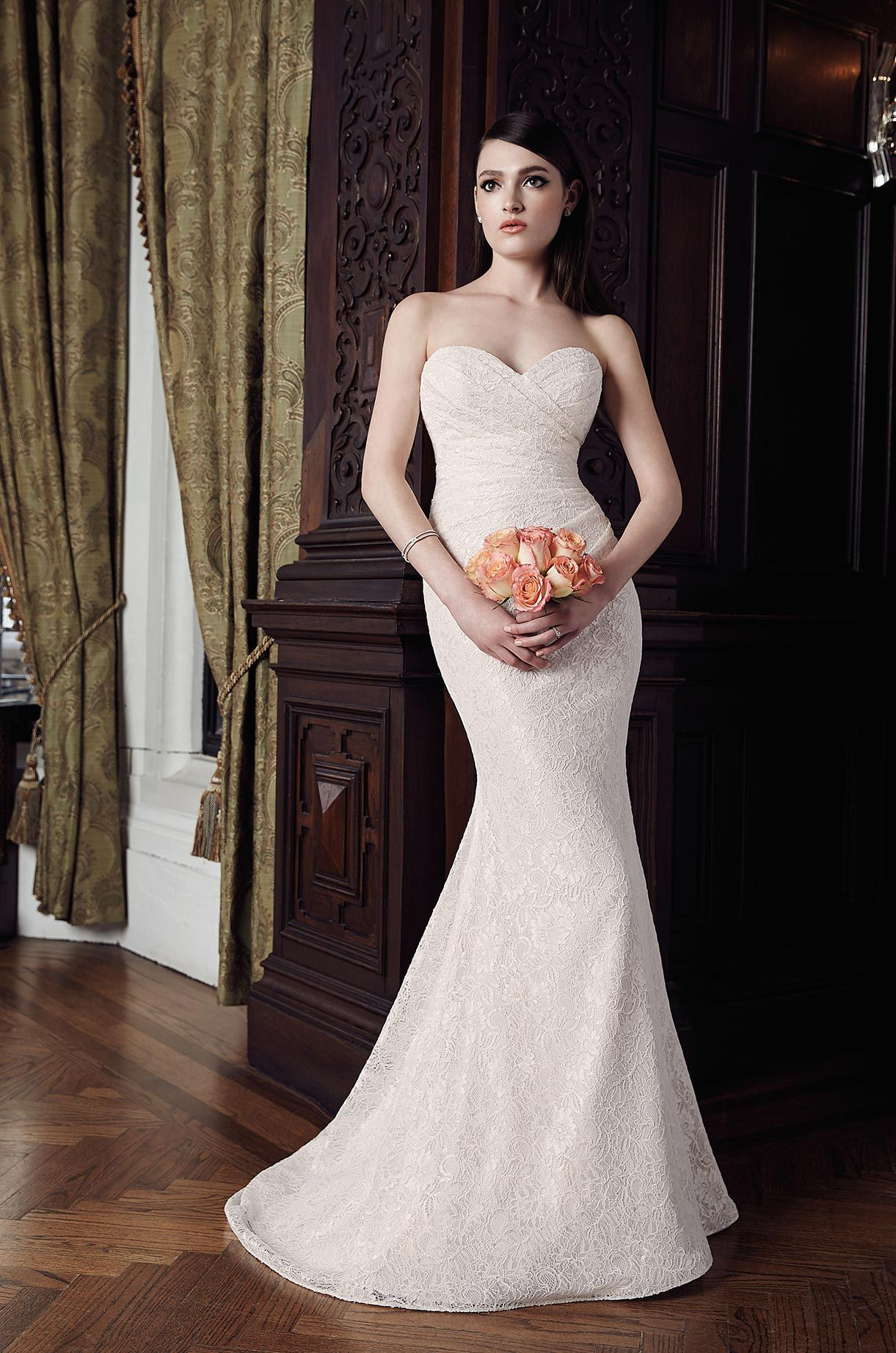Lace dress styles for wedding  Ruched Lace Wedding Dress  Style   Mikaella bridal Lace