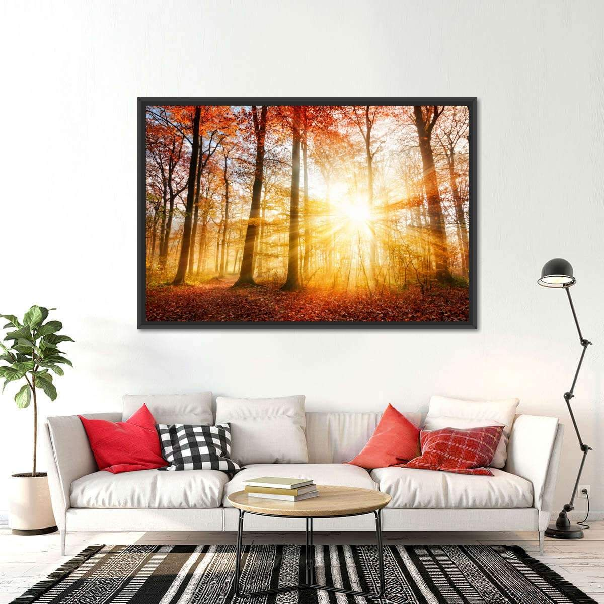 Forest Autumn Sunrays will refresh your mind and soul whenever you stop and stare at it. This high-quality art print will complement any room in your home and soothe your senses with nature's beauty.