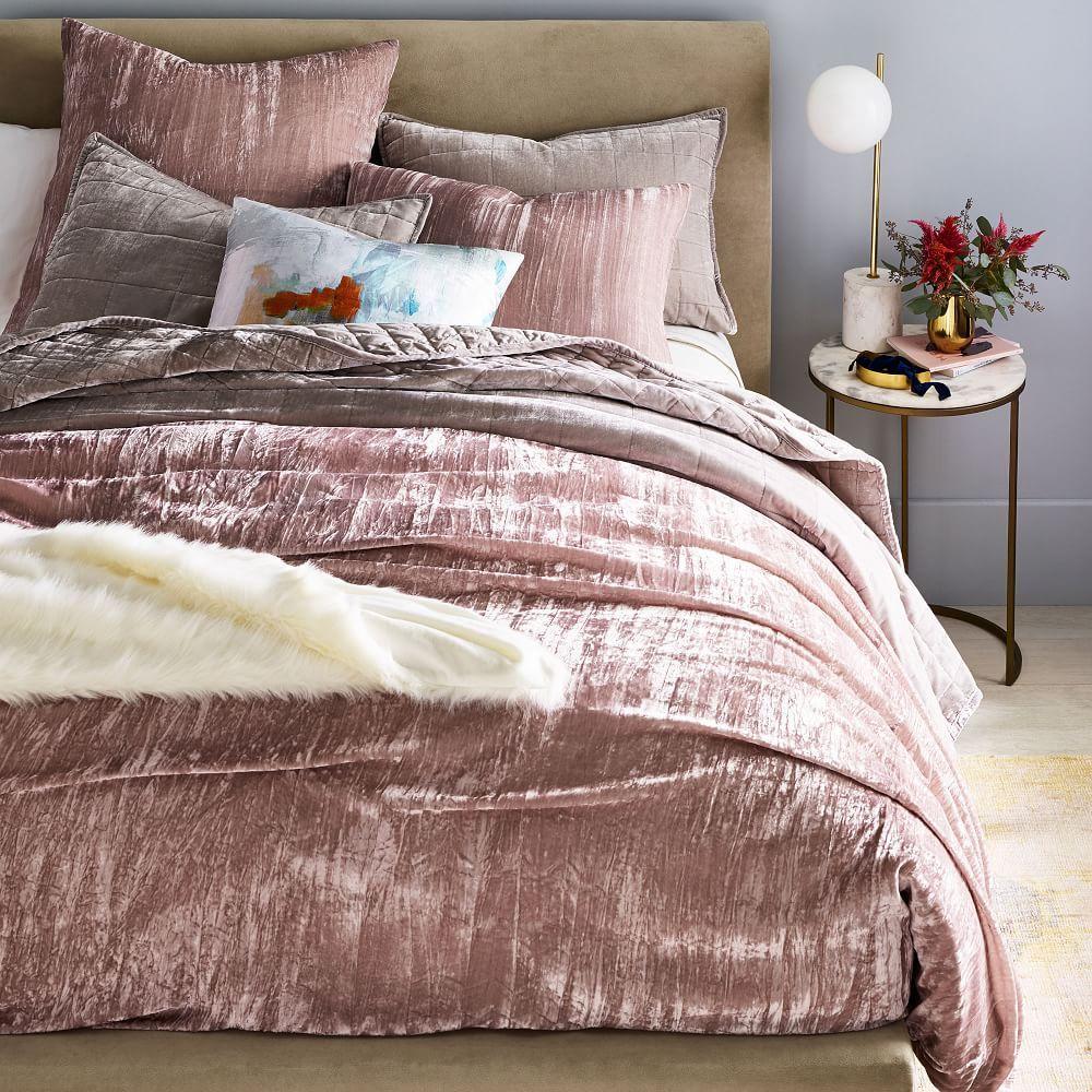 Crinkle Velvet Duvet Cover Amp Shams Dusty Blush Velvet