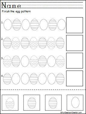 Kindergarten Easter Egg Pattern Practice  Free Coloring
