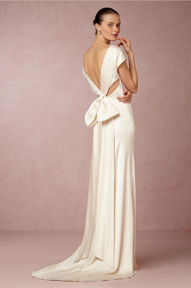 Nicole Miller Bridal Ivory Silk Cassandra Modern Wedding Dress Size 0 (XS)