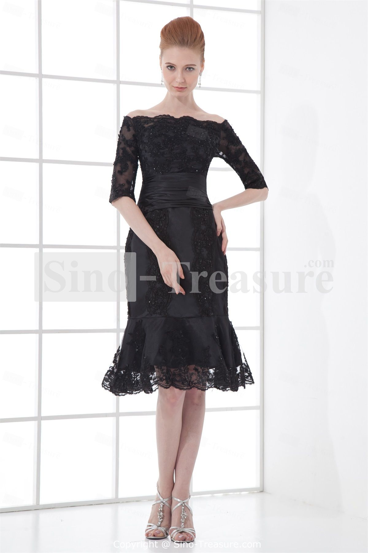 Black KneeLength Mermaid Trumpet Petite Strapless Mother Dresses