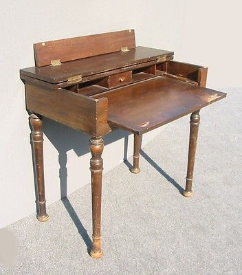 Rustic Antique Fold Top Secretary Desk W Pull Out Table