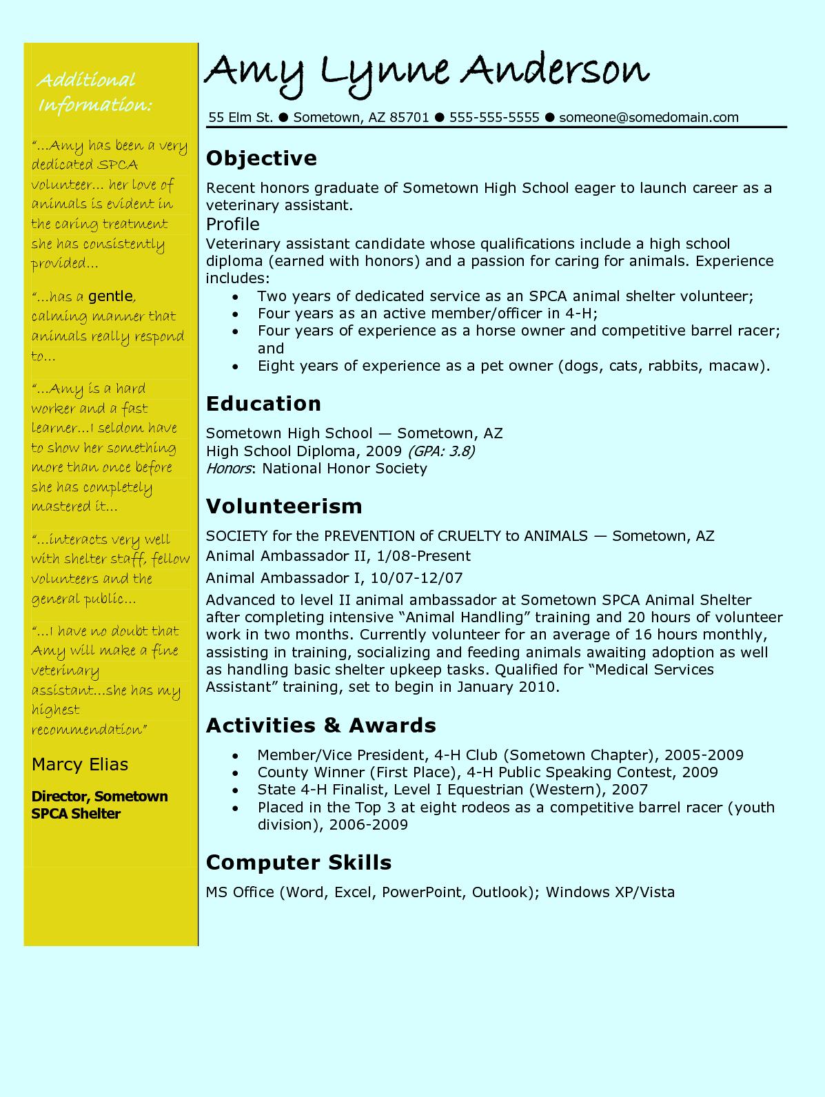 Veterinary Technician Resume http//www.latestresume