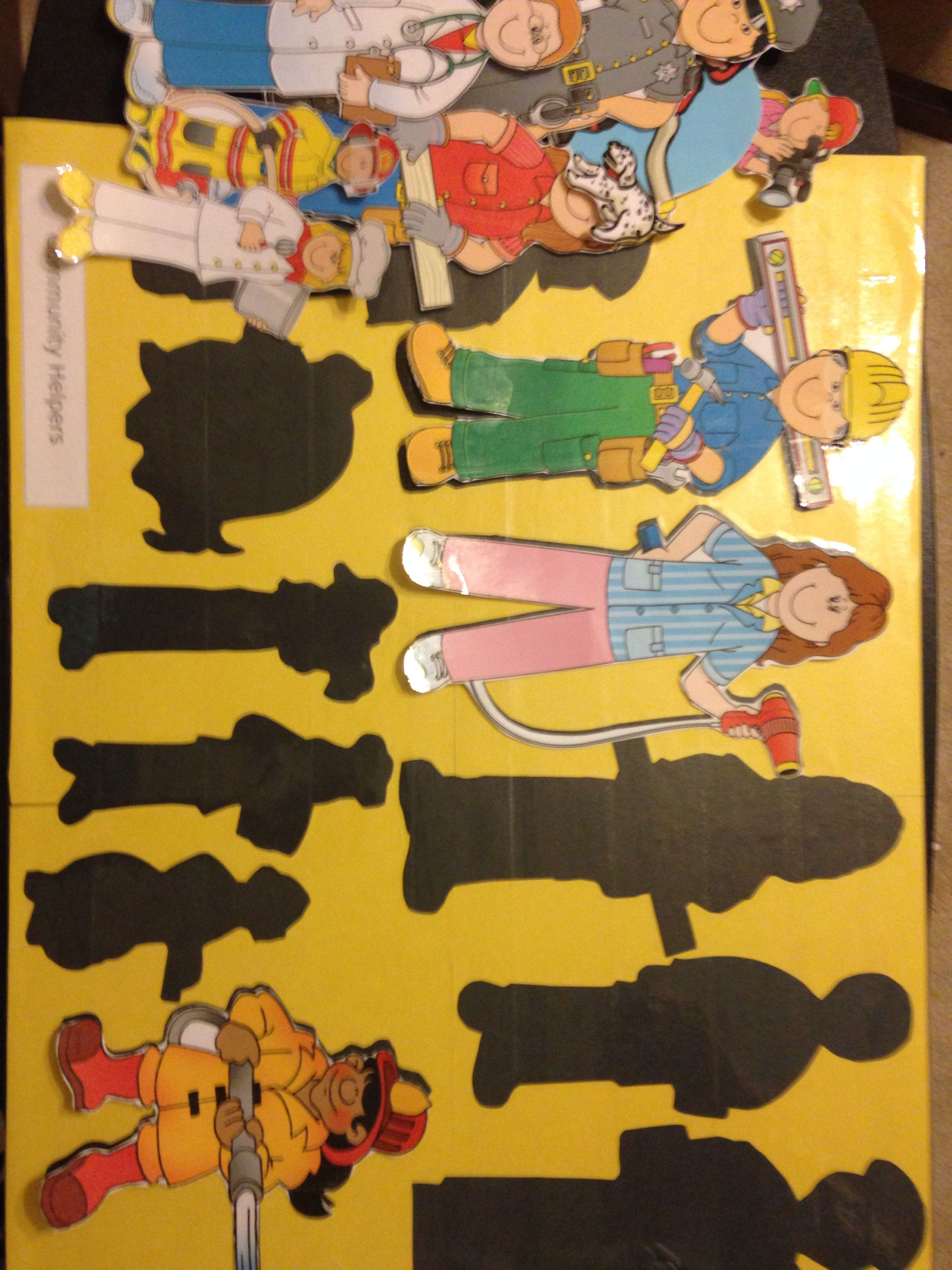 Community Helpers Shadow Matching Game Clip Art From