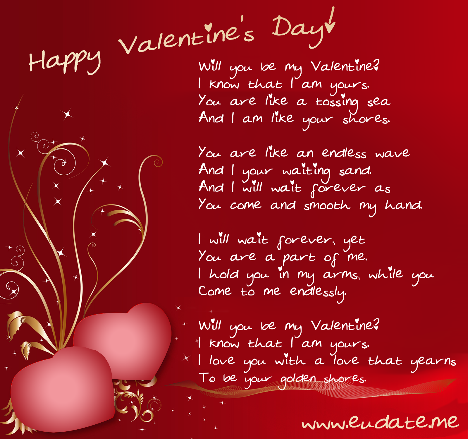 Will you be my Valentine I know that I am yours Happy Valentine – Valentine Cards Message