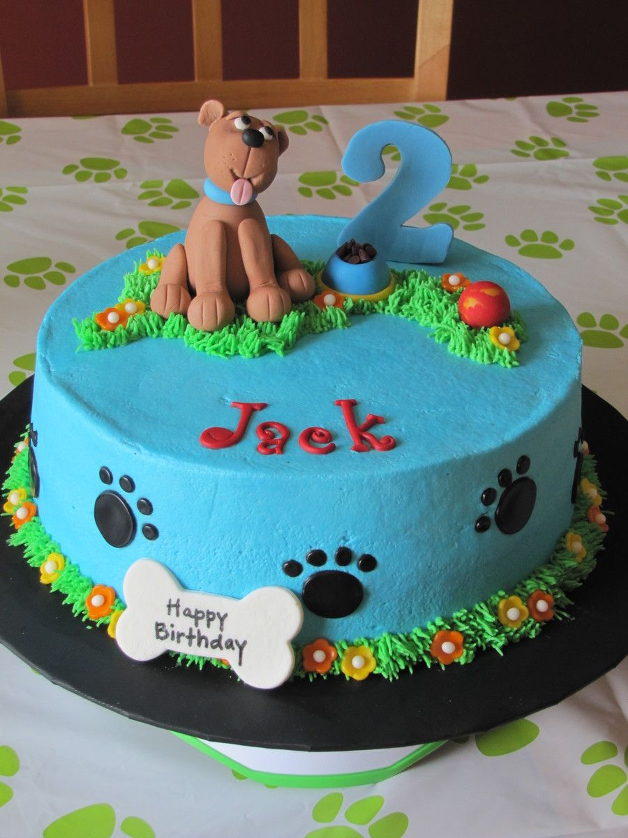 Pleasing Dog Themed 2Nd Birthday Cake Dog Birthday Cake Dog Cakes Puppy Personalised Birthday Cards Veneteletsinfo