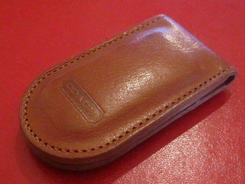 COACH Money Clip Men's Vintage Natural Brown Leather Magnetic Signed    GoldenDaysGoneBy - Accessories on ArtFire