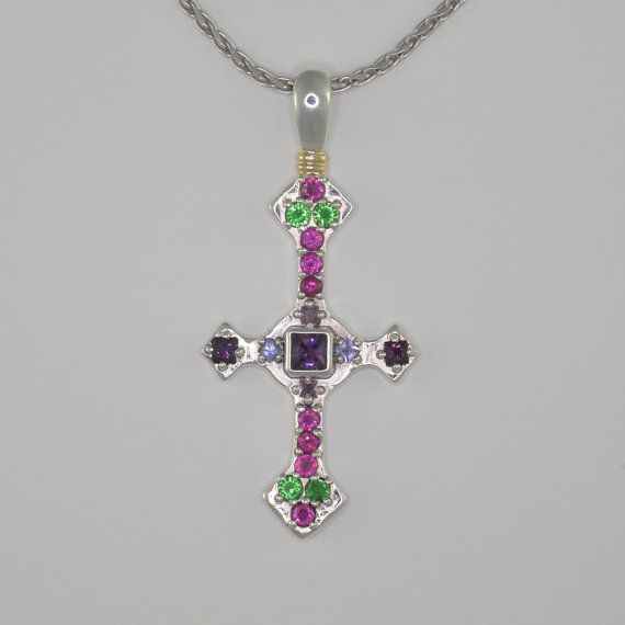 Donna Pizarro Designs Silver Cross With Sapphires, Tsavorite With 14kt Accent