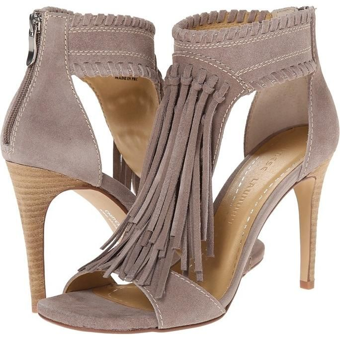 Chinese Laundry Santa Fe Suede Fringe Sandals in Grey as seen on Jessie  James Decker