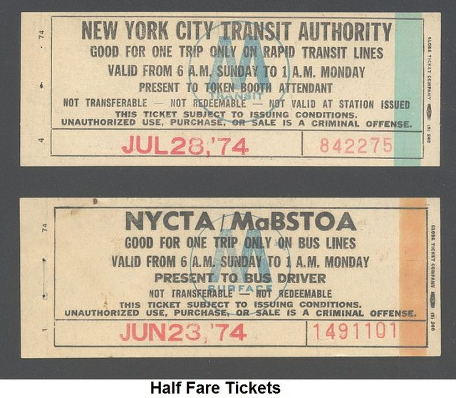 Half Fare Tickets Bus And Subway Used To Provide Round Trips For A Single Fare On New York City Transit Authority 1974 City Transit Rapid Transit Trip