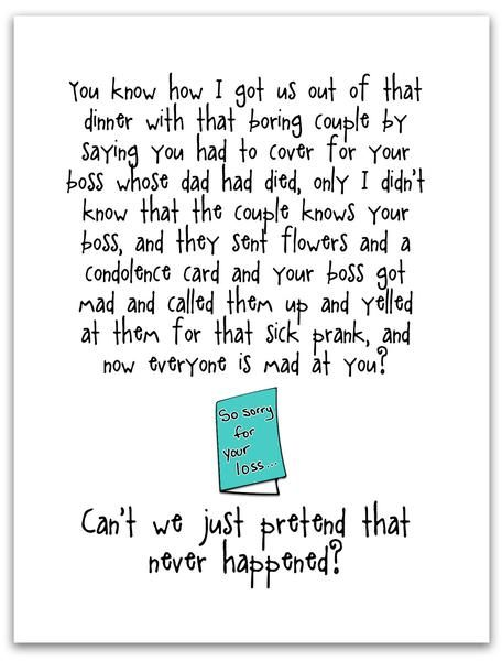 funny and kind of terrible card condolence card let s pretend rh pinterest co uk