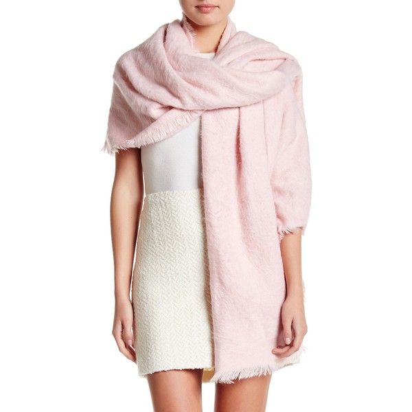 14th & Union Brushed Solid Wrap ($25) ❤ liked on Polyvore featuring accessories, scarves, blush, knit scarves, fringe scarves, fringe shawl, wrap scarves and knit shawl
