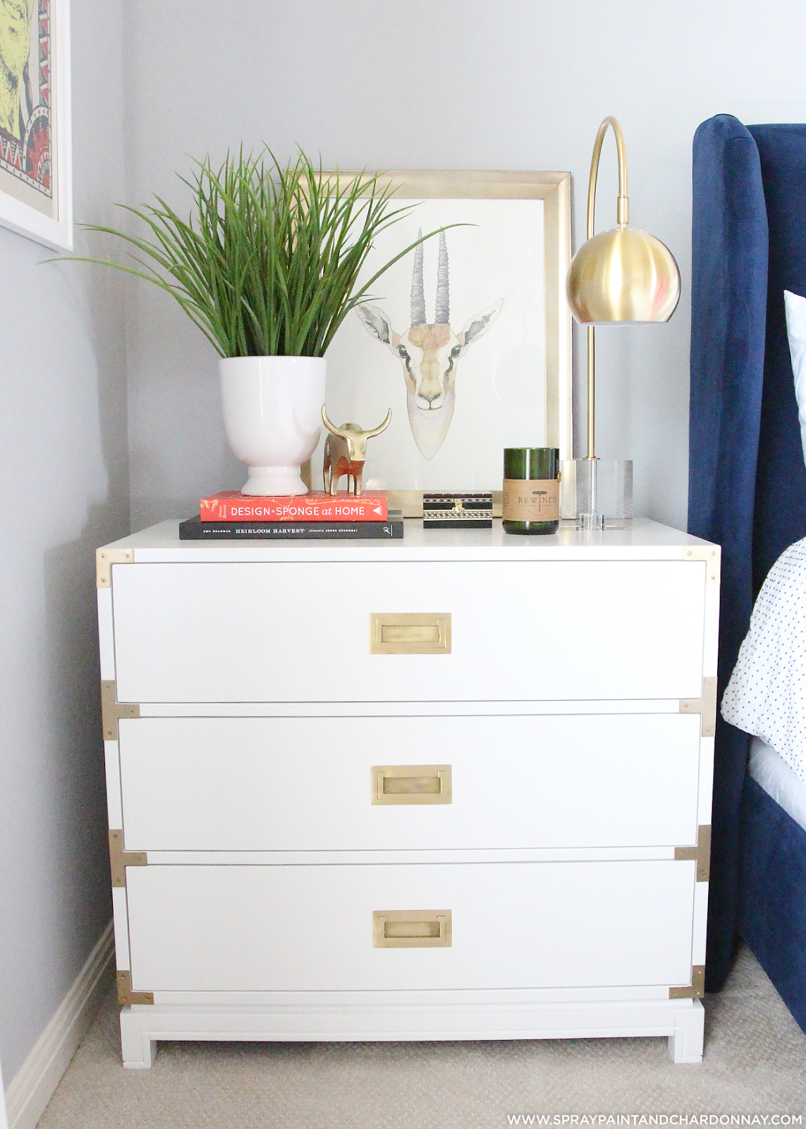 Carlyle Campaign Dresser in white and styled