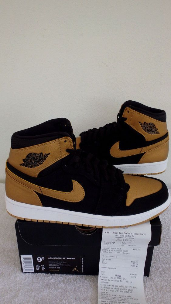 hot sale online a6bf5 5af49 (332550-026) Nike Air Jordan Retro 1 I High Melo Black Gold OG Receipt Size  9.5  Jordan  AthleticSneakers