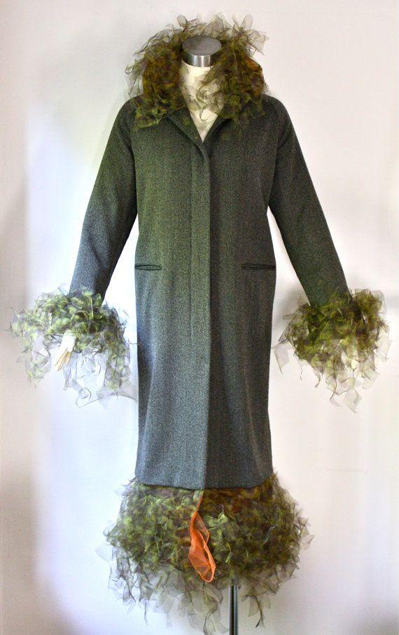 ROMEO GIGLI Couture Vintage Coat Full Length Tulle Fringe Jacket - AUTHENTIC -
