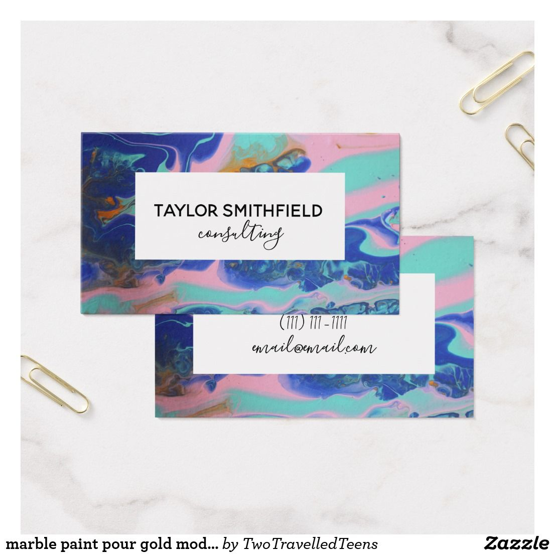 marble paint pour gold modern business card   Business Card ...