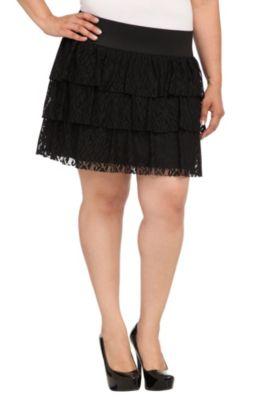 Black Three Tiered Lace Mini Skirt