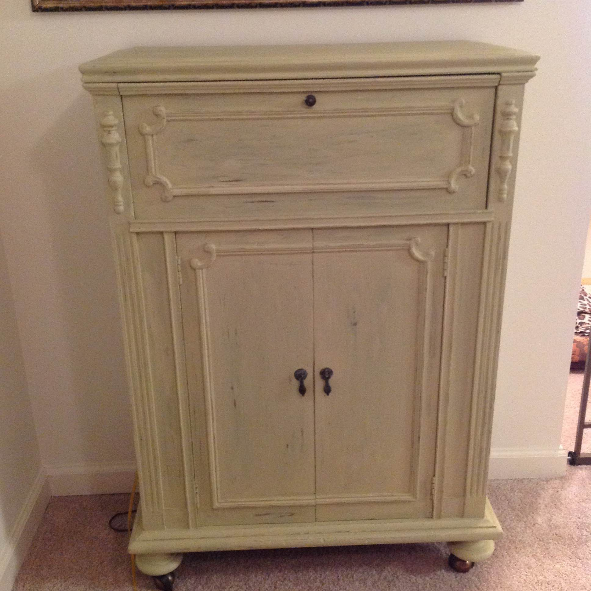antique cabinet chalk painted with folk art oatmeal paint and rh pinterest com