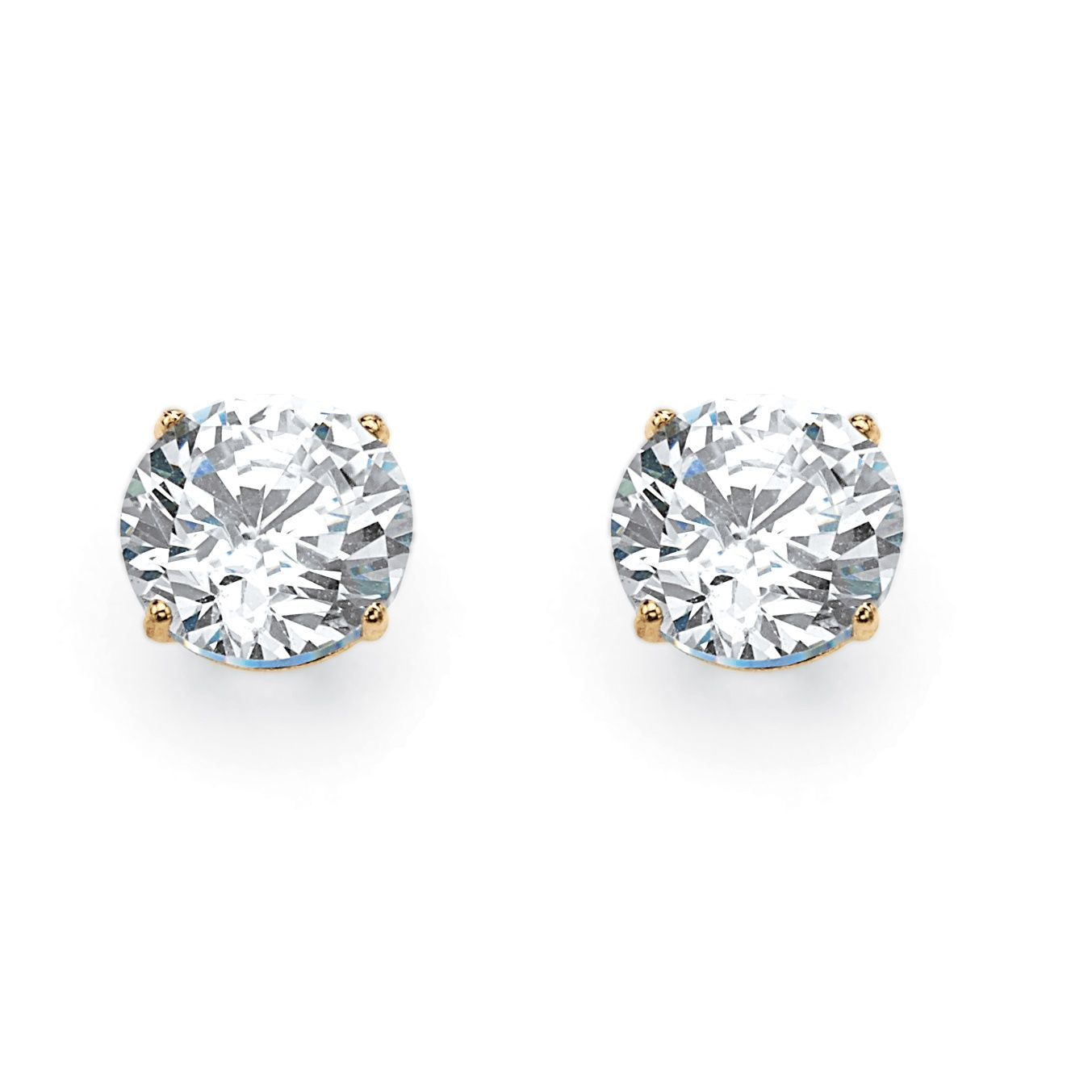 Quintessential Cubic Zirconia Stud Earrings Are An Impressive 1 80 Carats T W Of Brilliance Fashion Stud Earrings Beautiful Stud Earrings Round Stud Earrings