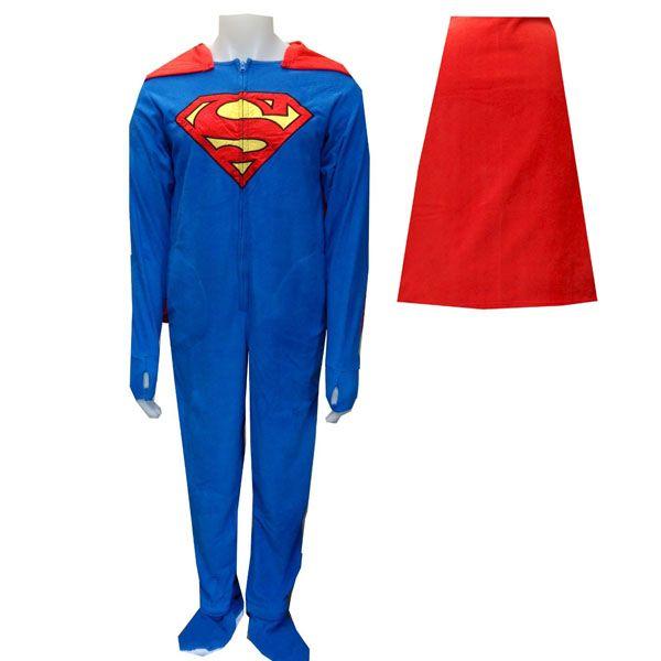 c2a229db1a Superman Fleece Footie Pajamas with Cape