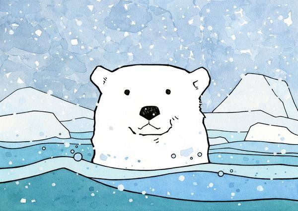 Swimming Polar Bear Childrens Art Print Kids Art Lessons