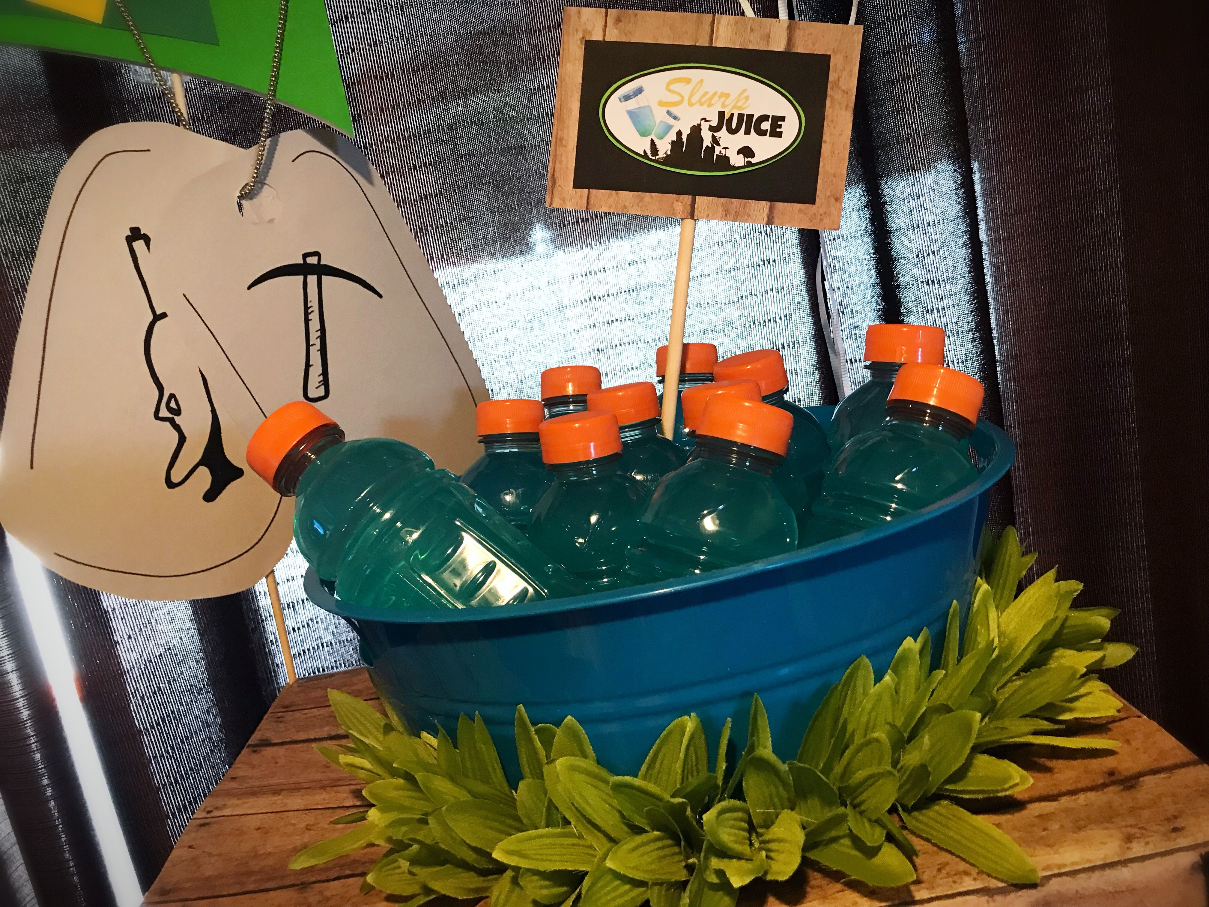 Fortnite birthday party slurp juice table decorations