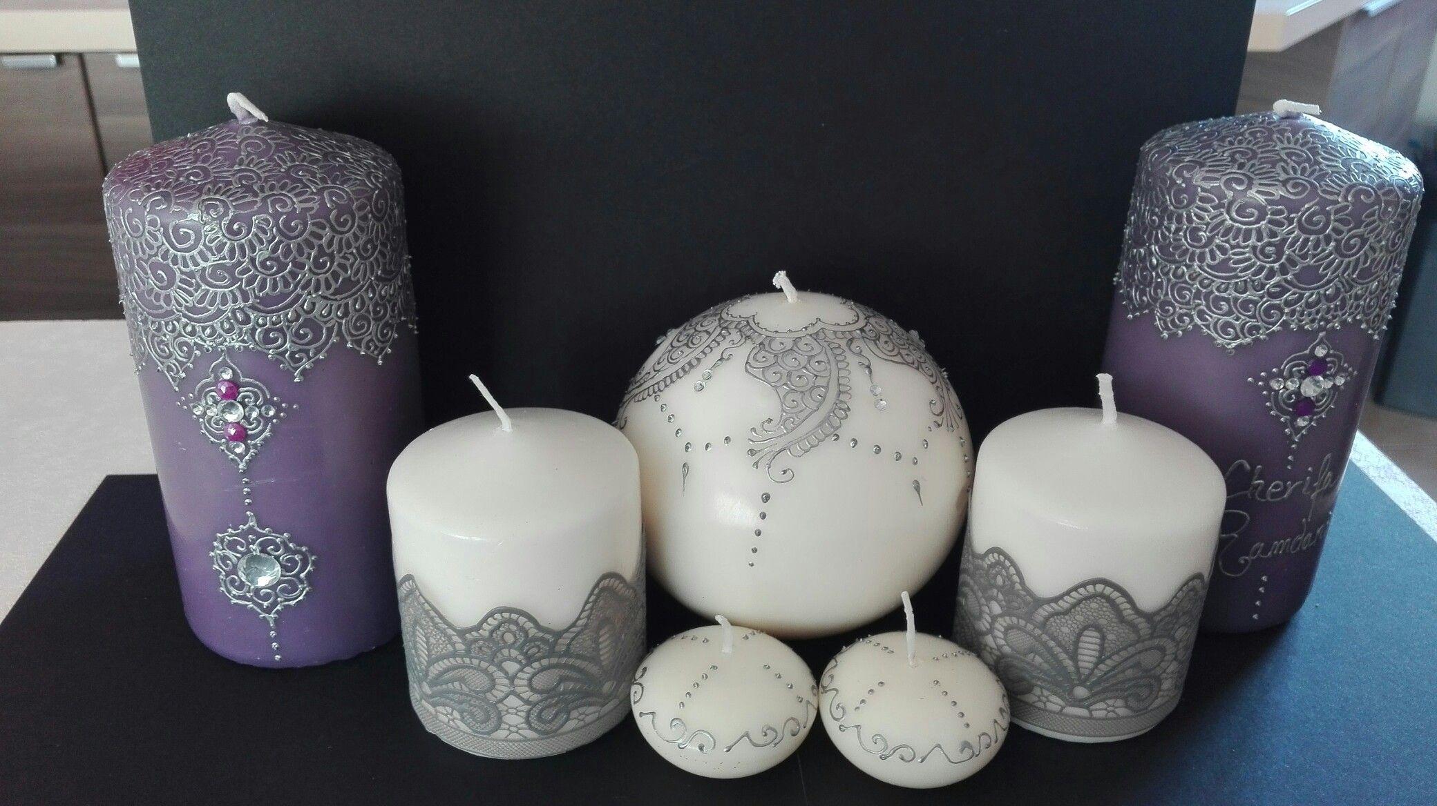 Très Bougies décorées façon henné | bougies décorées facon henné  UM66