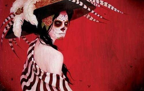 calavera, day of the dead, dia de los muertos, hat, mexican skull, painting