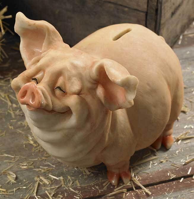 NEW SCULPTURE COLD CAST RESIN BENSON OINKER LARGE PIG PIGGY BANK