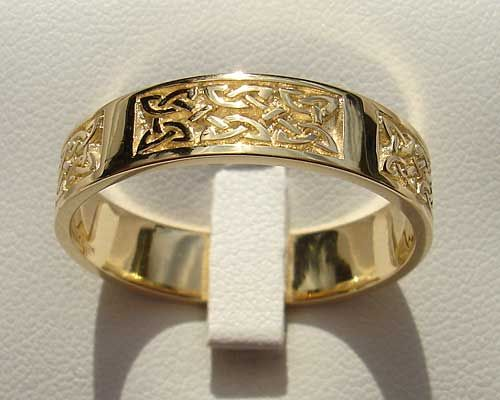 Celtic Yellow or White Gold Wedding Ring Gold wedding inspiration