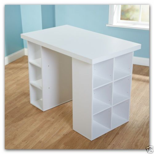 Craft Table White Furniture Desk Counter Height Office Or Home Shelf Storage Sld Craft Room Tables Craft Shelves Craft Table