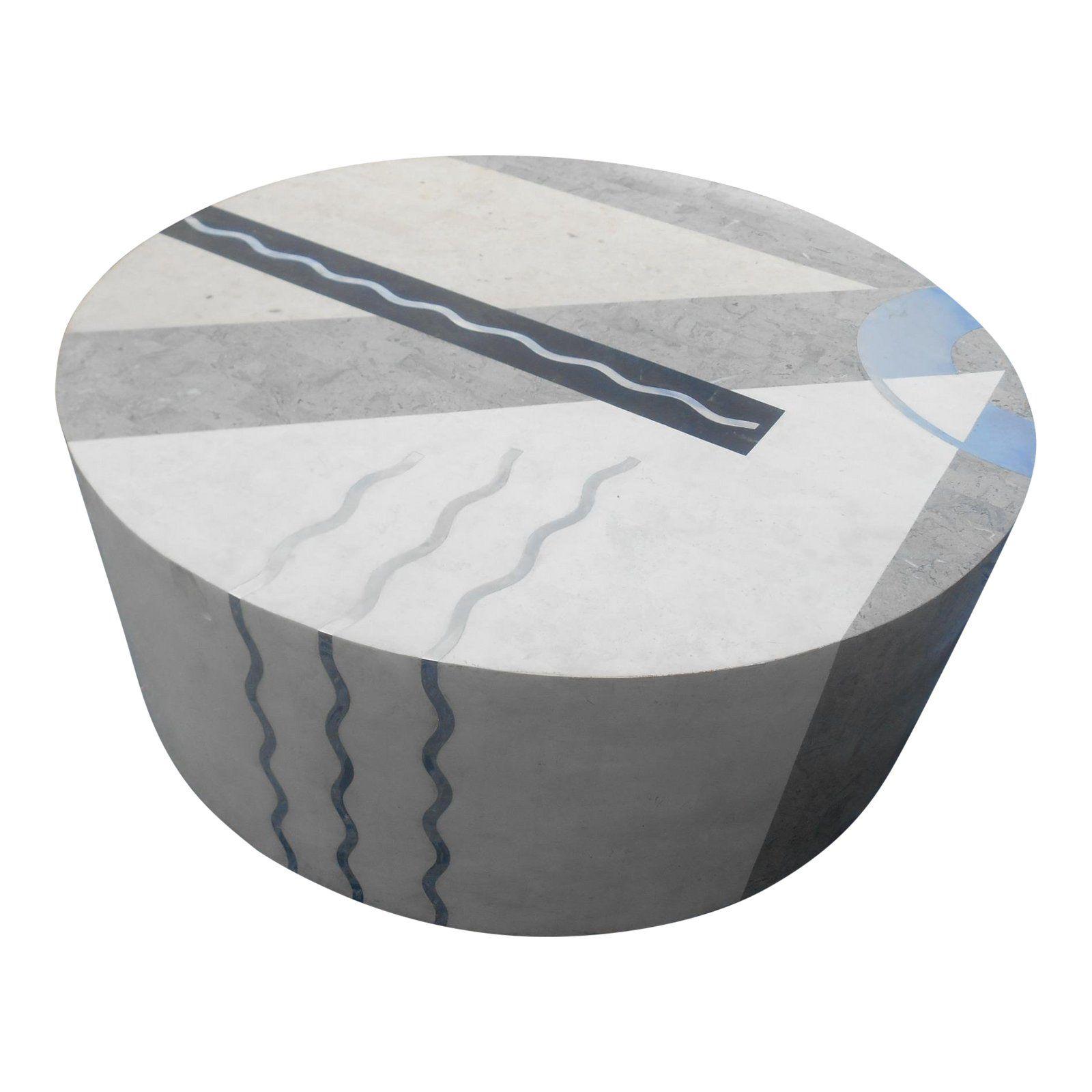 Vintage Contemporary Marble & Inlay Aluminum Round Drum