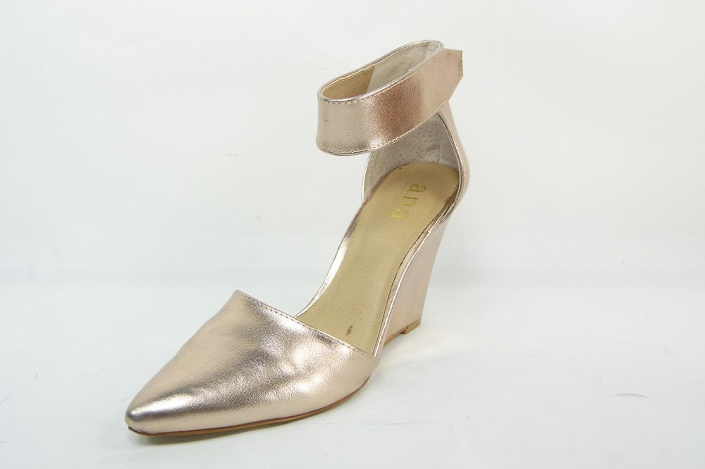 A.N.A Scarletta Ankle-Strap Womens Wedge Pumps Gold Size 6.5 M #ana  #PlatformsWedges