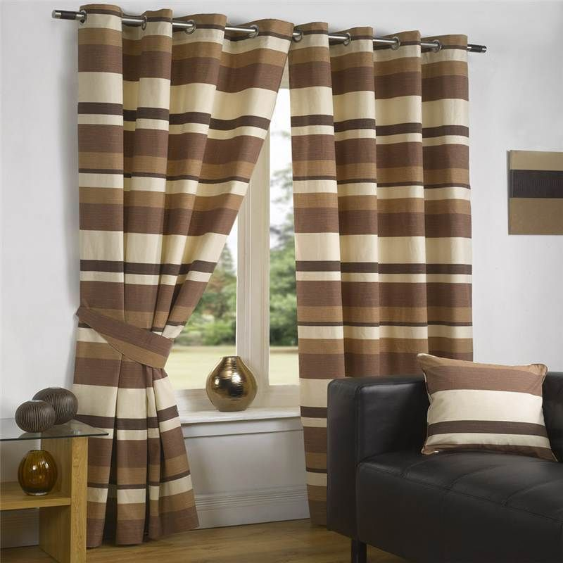 Details About Luxury Curtains Modern Striped Lined Eyelet