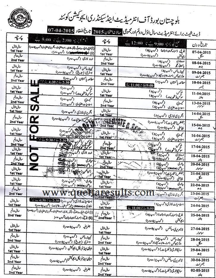 Balochistan Board Fa Fsc Annual Exam Date Sheet 2015 With Images