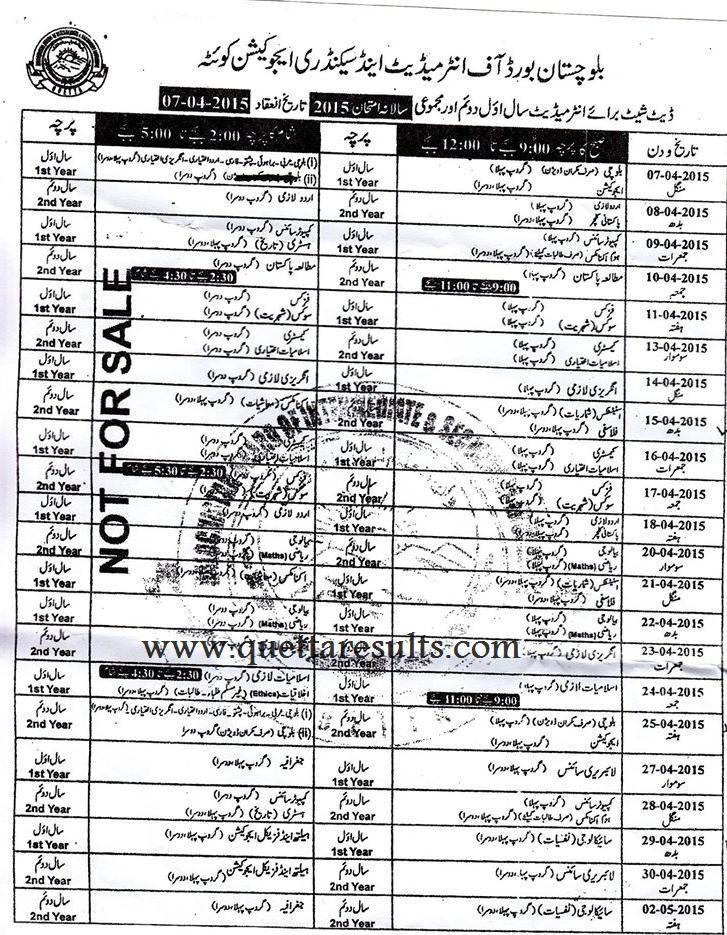 Balochistan Board FA FSc Annual Exam Date sheet 2015 Latest News - civil service exam application form