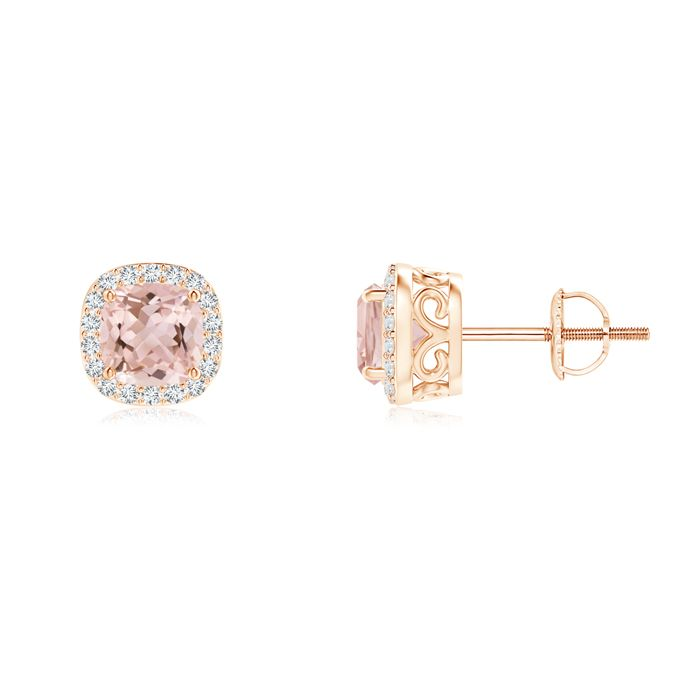 Angara Victorian Style Cushion Morganite Halo Stud Earrings 1YiS1lxckL
